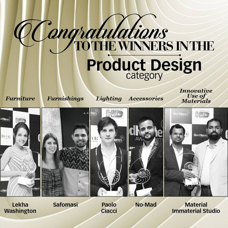 Congratulations Lekha Washington for winning Good Homes Best Design 2015 Award for Furniture.