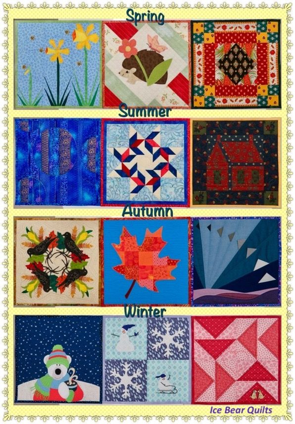 """The 12 times 12"""" by 12"""" mini quilt series from Ice Bear Quilts per season."""