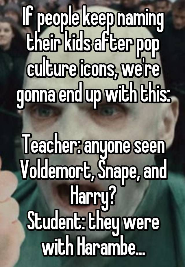 If people keep naming their kids after pop culture icons, we're gonna end up with this:  Teacher: anyone seen Voldemort, Snape, and Harry? Student: they were with Harambe...