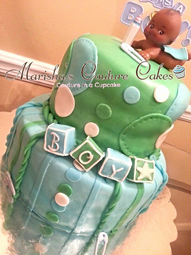 "Baby Shower cake. 6"" Red Velvet (Mint Green) and 9"" Vanilla (baby b..."