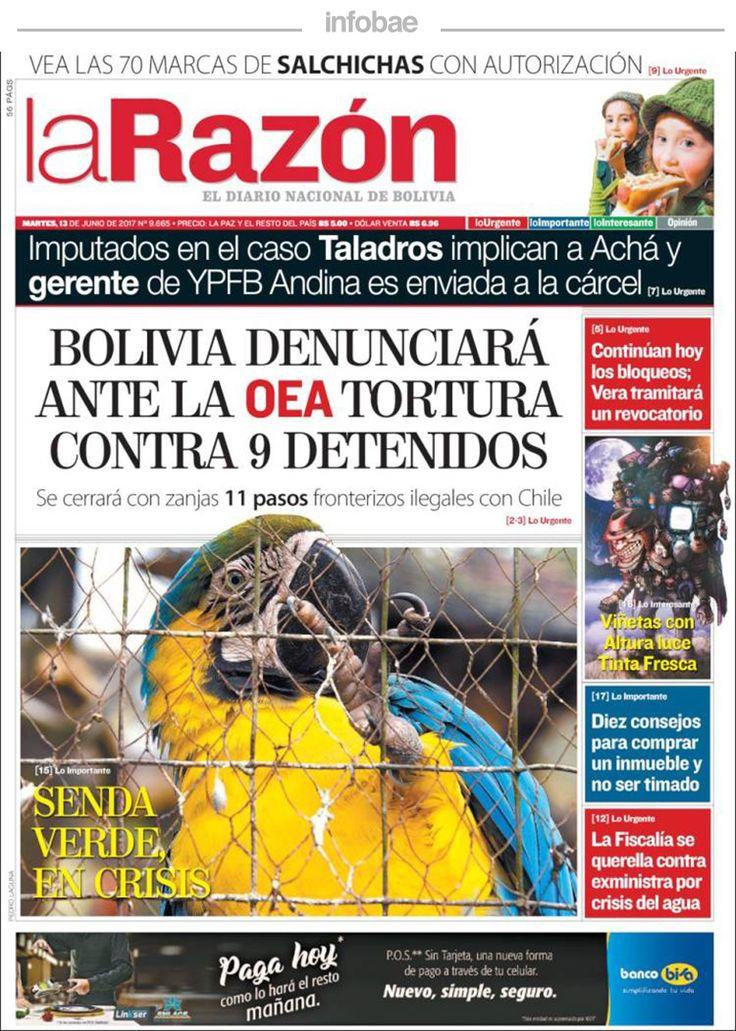 La Razón, Bolivia, martes 13 de junio de 2017