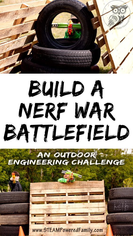 Build a Nerf War Battlefield for a fantastic Nerf War birthday party or simply a summer filled with fun! A brilliant outdoor engineering challenge using upcycled items.