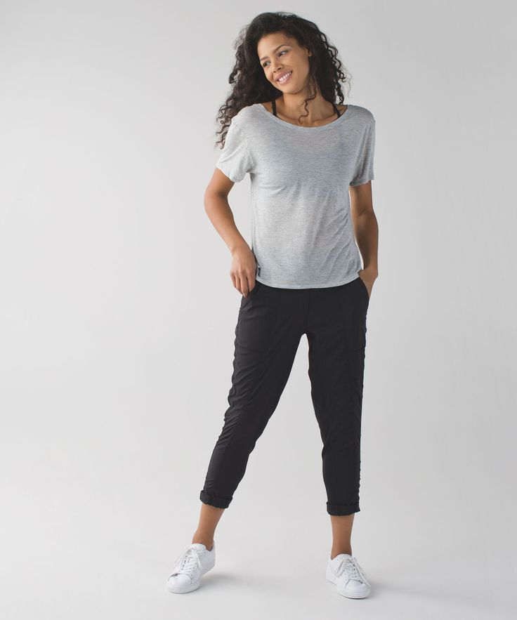 We made these pants out of lightweight, sweat-wicking Swift fabric  to keep us covered on our way to the studio or gym. Stretchy inseam panels give us the freedom to move when we're trying to make getting to class on time a part of our practice.