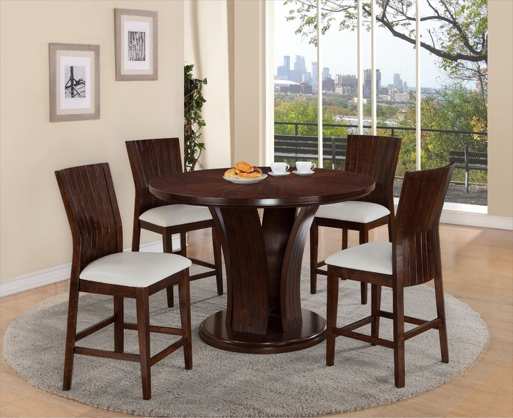 Daria White Counter Height Table And 4 Chairs 79900 54 Dia X 36