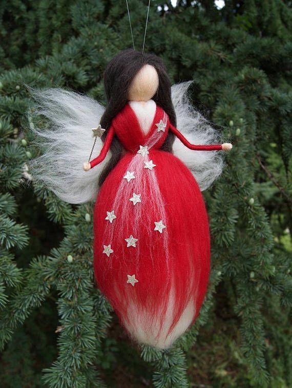 Weihnachten Märchen Nadel gefilzte Wolle Fee Waldorf gefilzt Puppe Weihnachten zugunsten Kinderzimmer Dekor