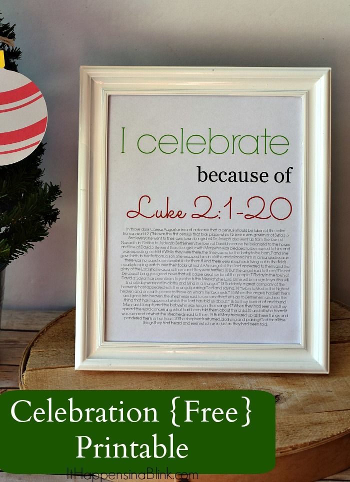 Christmas Celebration Free Printable |  ItHappensinaBlink.com  | Free printable for Christmas. Luke 2:1-20