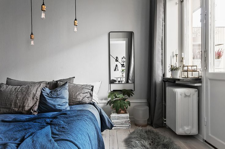 Grey & blue bedroom: