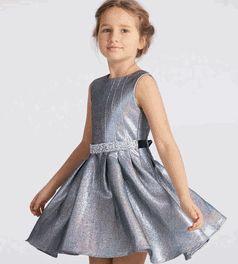 Halabaloo Silver Sparkly Belted Girls Dress *Top Seller* 6 8 10 12