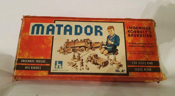 Antique 1950 Matador 4A wooden kit game vintage construction toy Austria | eBay