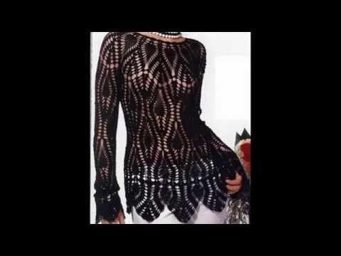 Jersey Hermoso Motivos Piñas Negro Calado crochet - YouTube