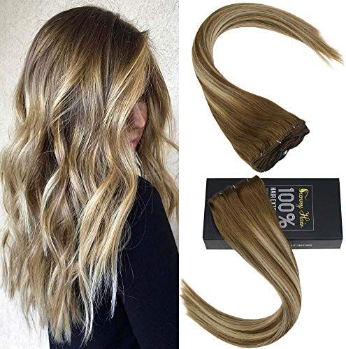 Enjoy exclusive for Sunny Clip Remy Hair Extensions 24 inch Balayage Clip Extensions Clip Real Human Hair Light Brown Mix Medium Blonde Clip Real Hair Double Weft Soft 120g 7pcs online