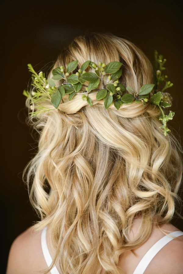 Beautiful Rustic Woodland Bridal Bride Boho Half Up Half Down Wavy  Hair http://www.careysheffield.com/