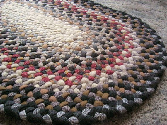 Handmade Vintage Wool Oval Braided Rug In Earthtones From Upcycled Wool