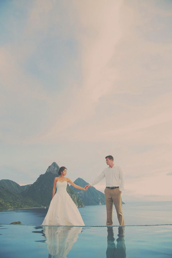 St Lucia Destination Wedding Photography. www.gideonphoto.com . Pitons, Saint Lucia, St Lucia Wedding. Amazing views of the Caribbean. Calle Blanc Wedding. Sunset in St Lucia. Infinity Pool