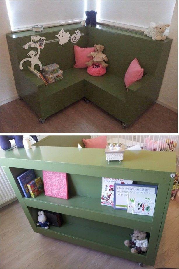 Stoere hoekbank op wieltjes voor kinderkamer met verborgen (boeken ...