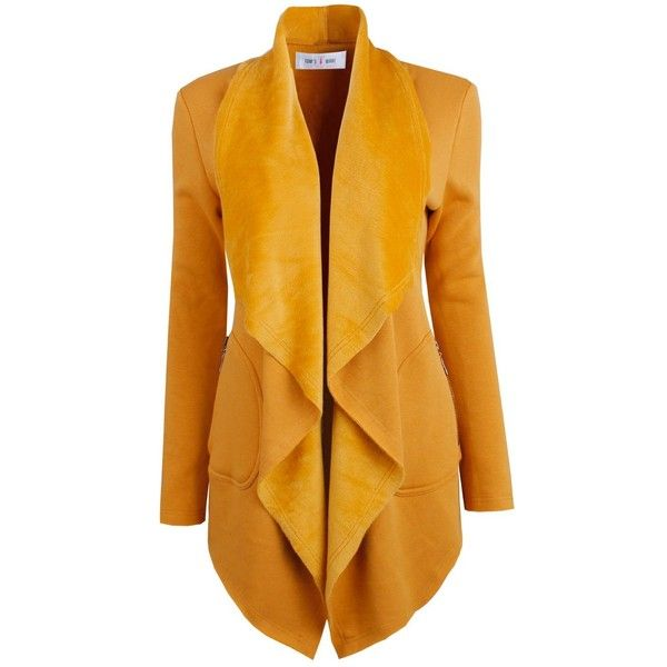 Tom's Ware Womens Elegant Open Front Wide Lapels Coat ($40) ❤ liked on Polyvore featuring outerwear, coats, open front coat, wide lapel coat и yellow coat