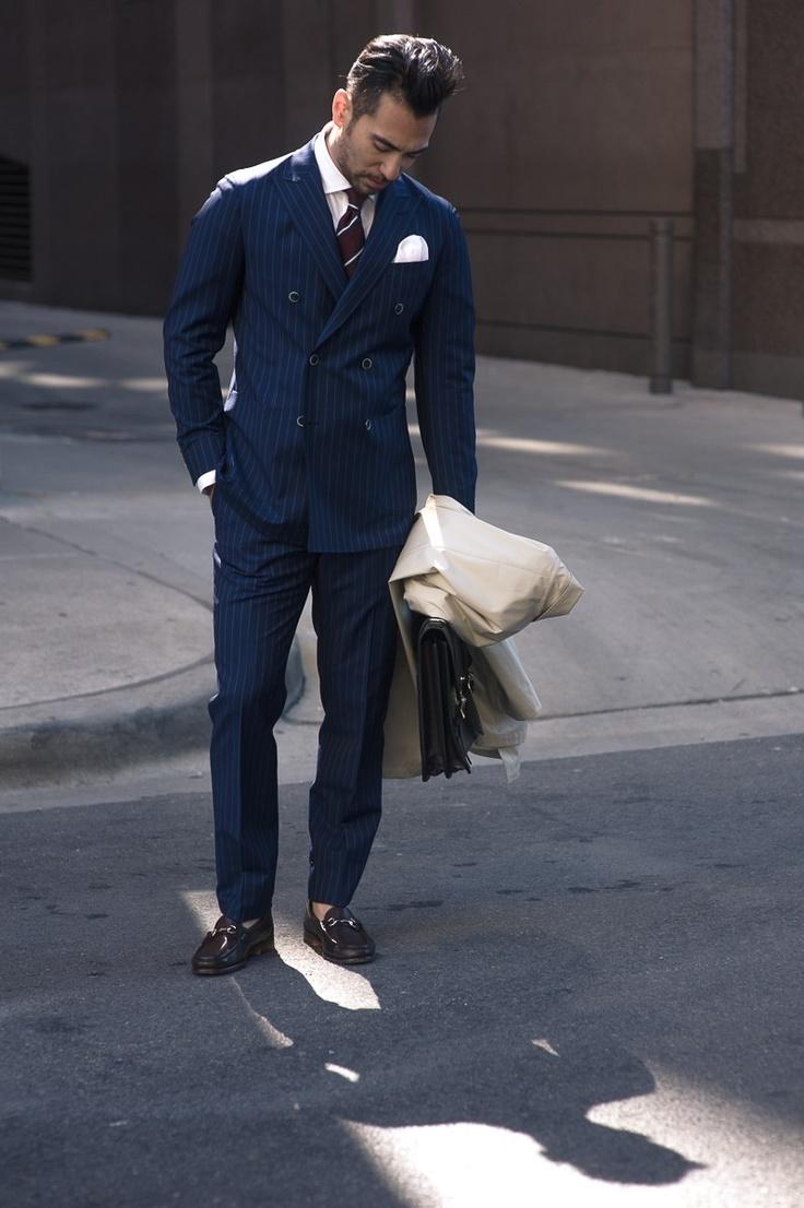 Navy Blue Pinstripe Suit