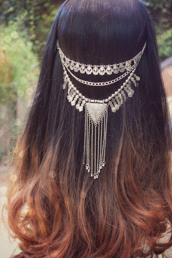 "Boho Haare Stück, Stammes-, Festival Zubehör, ""Zigeuner"" Haar, Kette Stück, böhmische Silberschmuck, aztekische Haare Haarschmuck"