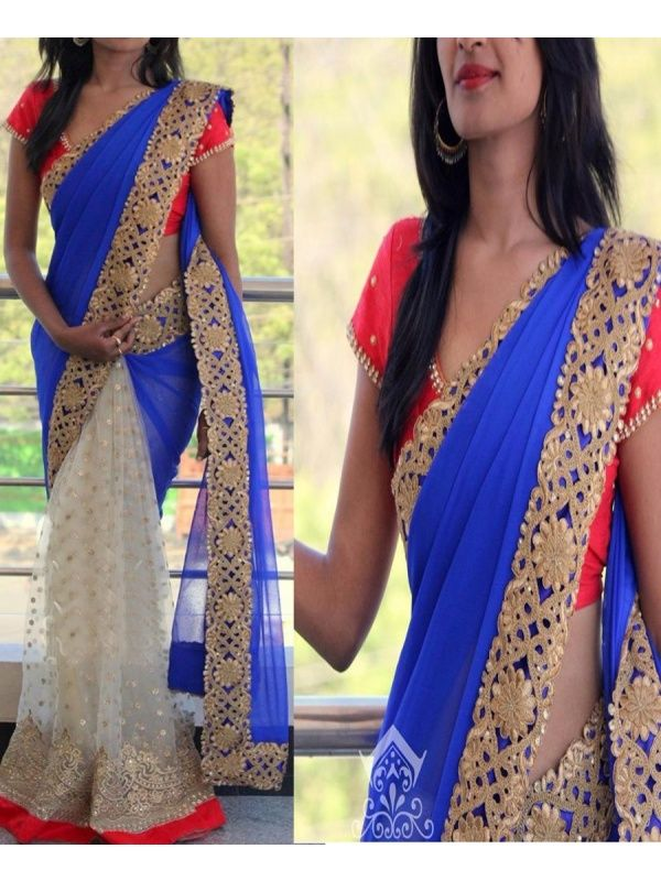 Elixir Blue, White Georgette, Net Designer Saree with Red Color Blouse and Satin Inner. It Contained the work of Zari, Embroidery with Lace Border. The Blouse can be customized up to bust size 44