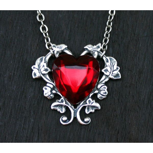 Red Heart Necklace ($28) ❤ liked on Polyvore featuring jewelry, necklaces, vine necklace, long pendant necklace, nickel free necklace, rhinestone pendant necklace and long pendant