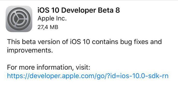 Apple lanza iOS 10 Beta 8 y tvOS 10 Beta 7 - http://www.actualidadiphone.com/apple-lanza-ios-10-beta-8-tvos-10-beta-7/