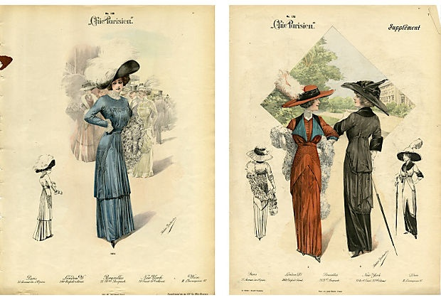 Lithograph from a 1912 French clothing catalog. Women selected dress styles from these catalogs, and then the dresses were made to order. Sold by stores in Paris, New York, London, Brussels and Vienna.
