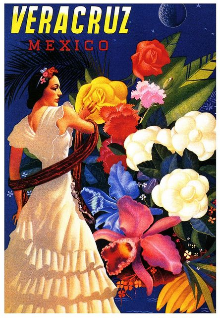 A vibrantly lovely yesteryear travel ad for Veracruz, Mexico. #travel #ad #Mexico