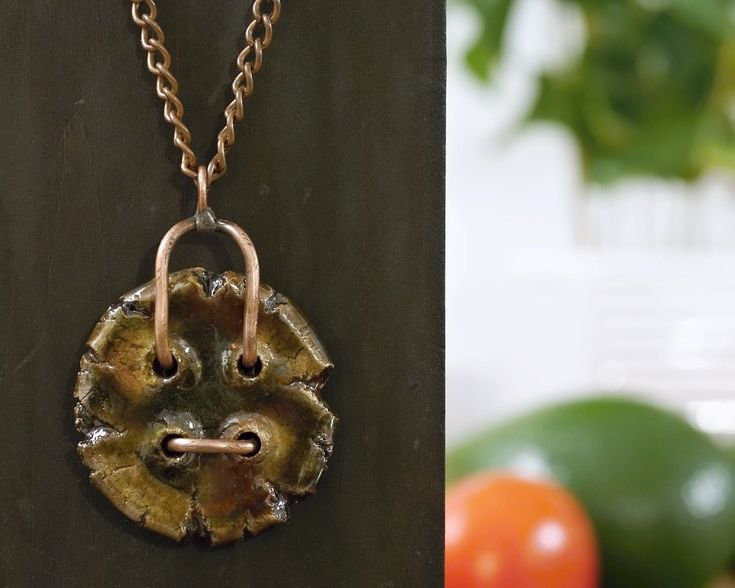 necklace with raku ceramic, metalwork, raku firing technique, handmade by pentaxPL on Etsy