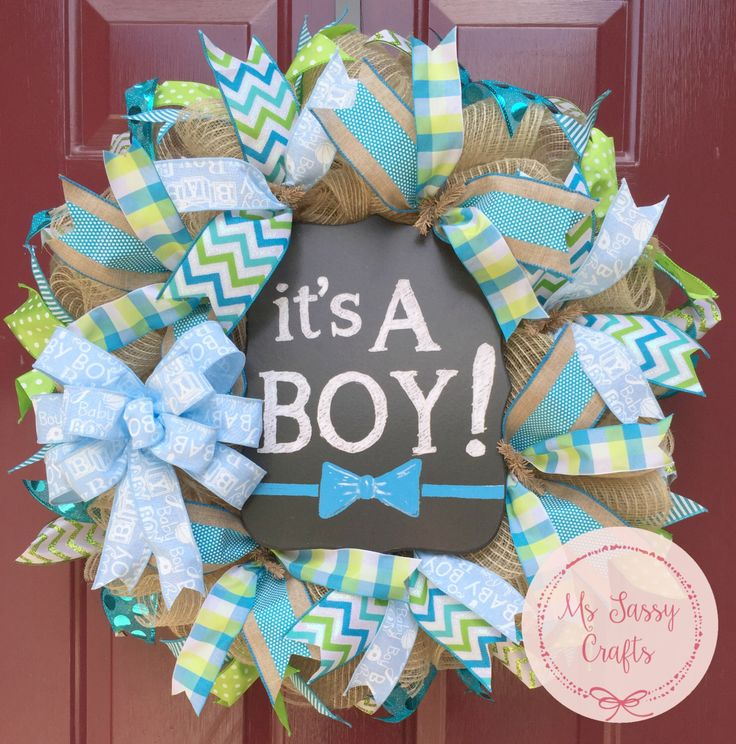 It's a Boy Wreath - Baby Shower Wreath - Baby Arrival Wreath - Baby Boy Wreath - Burlap Wreath - Blue and Green Ribbon Wreath - Chalkboard by MsSassyCrafts on Etsy https://www.etsy.com/listing/233057572/its-a-boy-wreath-baby-shower-wreath-baby