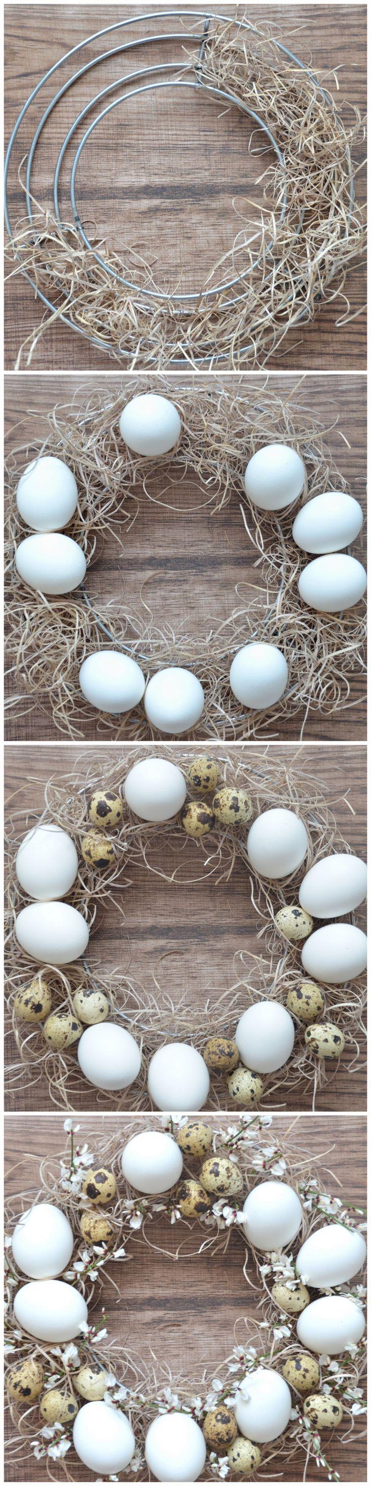 Ghirlanda centrotavola di Pasqua con uova di quaglia e fiori di ginestra, effetto natural chic