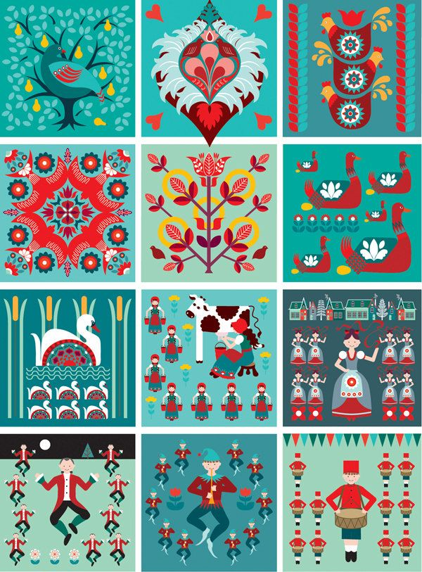 12 Days - Folk Art Style...  12 Days of Christmas Folk style art print. $16.00, via Etsy.