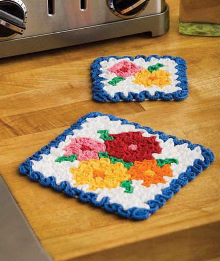 May Flowers Hot Pad & Coaster Set