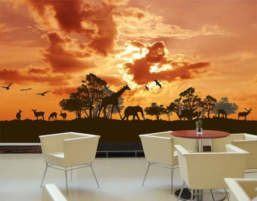Selbstklebende Tapete - Fototapete Tanzania Sunset
