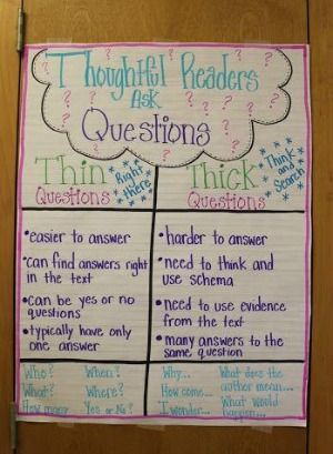 Fat and skinny questions anchor chart! The only thing that could make it better is if it had a place for students to write their own questions!