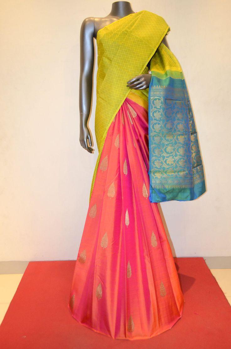 Beautiful Patli Kanjeevaram Silk Saree Product Code: AB210083 Online Shopping: http://www.janardhanasilk.com/Saree-Collections/Kanjeevaram-Silk-Saree?product_id=3576&limit=25
