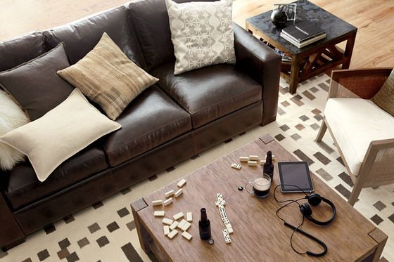 Brown Leather Couch Decorating Sofa In