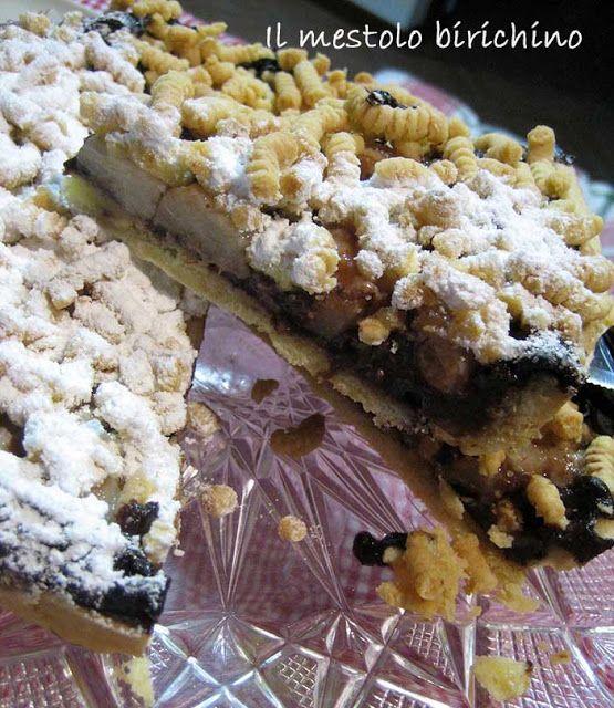 crostata con budino al cioccolato e pere