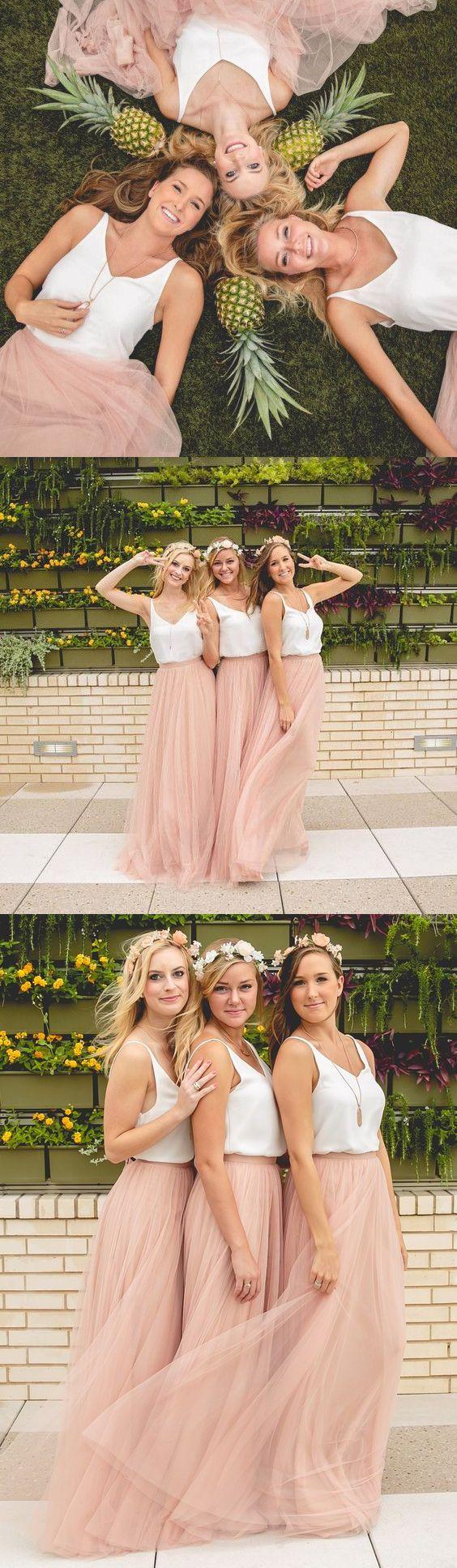blush pink long bridesmaid dress, 2017 bridesmaid dress, two piece bridesmaid dress, blush pink  maxi dress and white straps tops