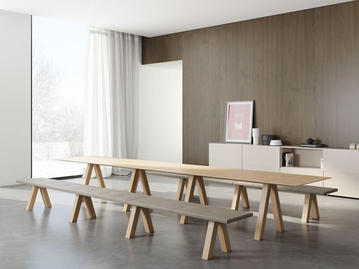 Rectangular oak table Trestle Collection by Viccarbe | design John Pawson