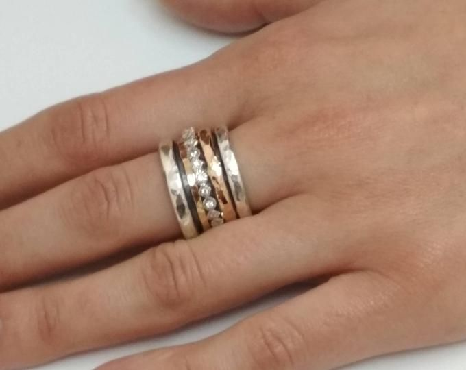Unique Wide Band Spinner Ring Worry Ring Chunky Fidget Meditation Ring Jewerly Sterling Silver Moonstone Ring for Women Amethyst