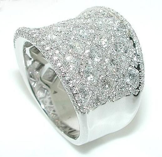 CT WIDE Diamond Wedding Band Ring Rounds 14KW