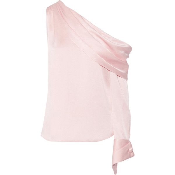 MonseOne-shoulder Draped Satin Blouse (195.160 HUF) via Polyvore featuring tops, blouses, baby pink, one shoulder shirt, shirt blouse, folding shirts, loose shirts and draped blouse
