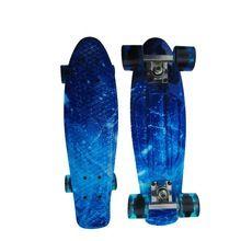 US $49.49 2016 NEW 22 inch Mini Cruiser Plastic Skateboard Retro Longboard Blue starry sky Skateboard small fish board for Boys & Girls. Aliexpress product