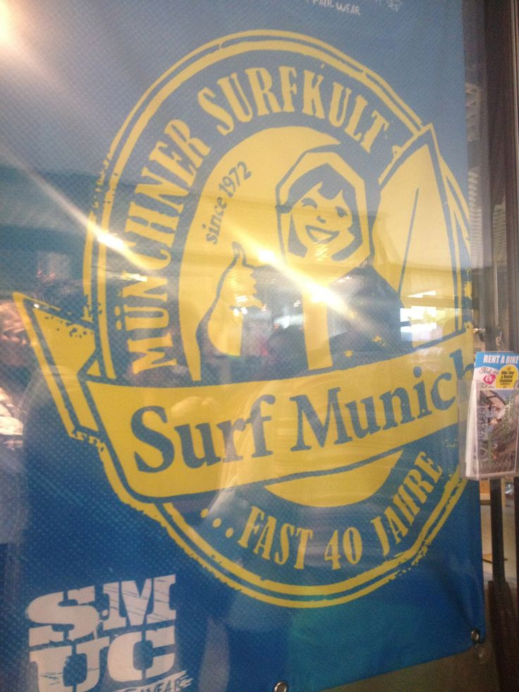 Surf Munich graphic, photo taken by my daughter studying abroad. Frankie's Bike Shop, Munich