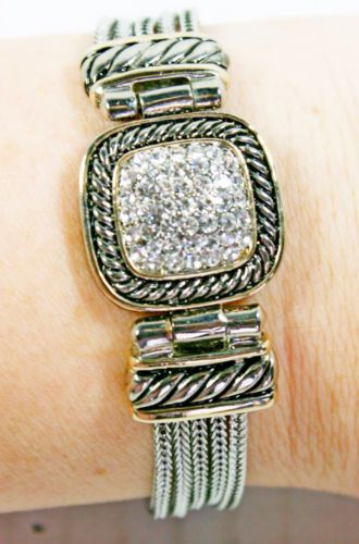 Crystal-Rhinestone-Square-Cluster-Braided-Multi-Strained-Magnetic-Clasp-Bracelet