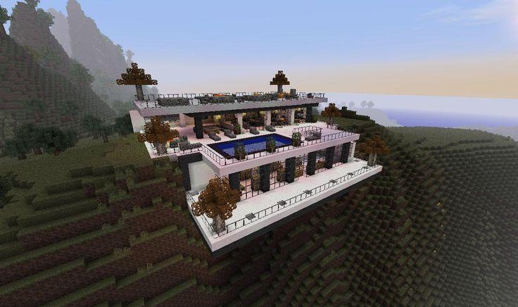 minecraft desert homes   Modern Minecraft Cliffside Mansion   minecraft mansion