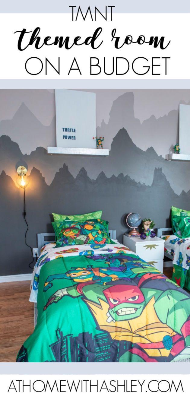 Tmnt Boys Budget Themed Room Ninja Turtle Bedroom Room Themes Teenage Mutant Ninja Turtles Bedroom