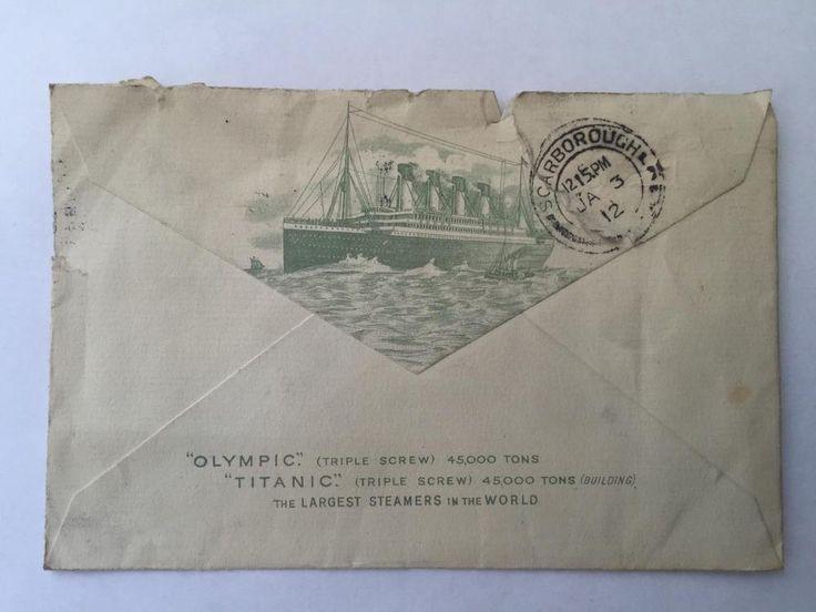 Rare Original White Star Line Envelope Titanic & Olympic postmark dated Jan 1912