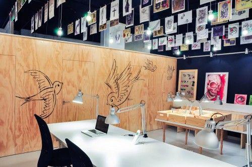 hanging tattoo sketches  tattoo shop interior decoration idea