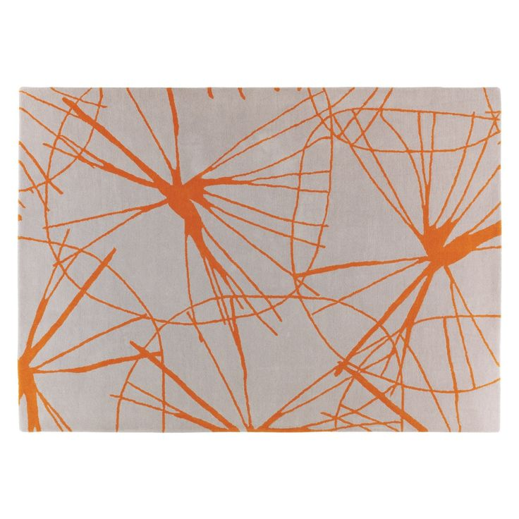 STARFLORAL Large Grey And Orange Wool Rug 170 X 240cm